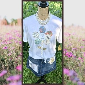 """""""Save the Bees"""" Ladies Embellished T Shirt - Sz. M"""